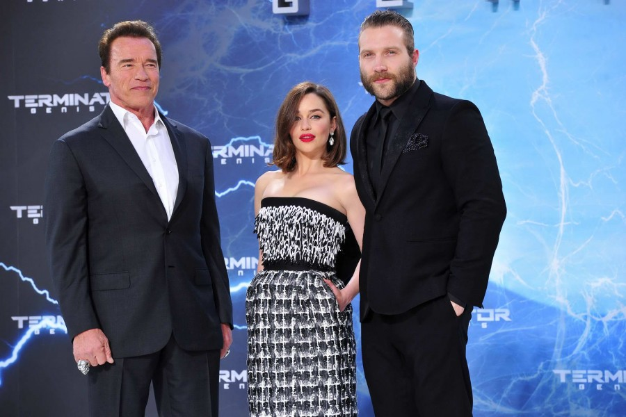 Arnold Schwarzenegger,  Emilia Clarke, Jai Courtney Arnold Schwarzenegger;  Emilia Clarke; Jai Courtney  -  Premiere TERMINATOR - GENISYS im Cinestar im Sonycenter  in Berlin  am 21.06.2015 -  Foto: SuccoMedia / Ralf Succo